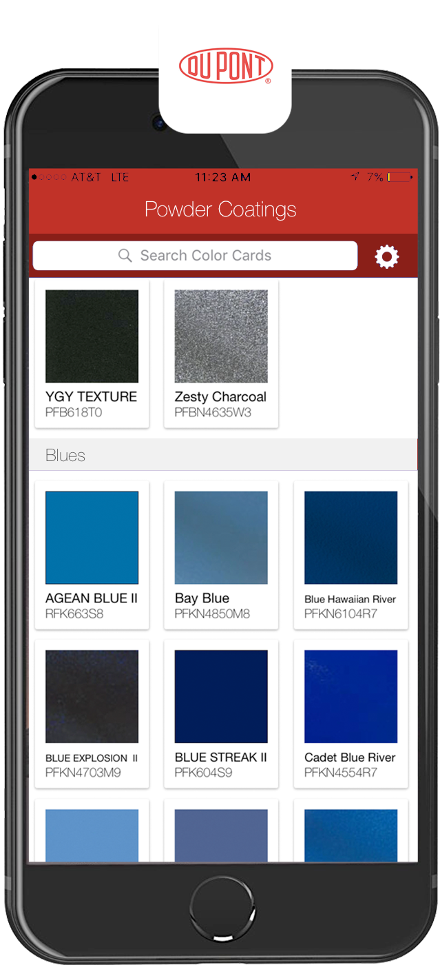 DuPont Powder Coatings : iPhone app, available on AppStore